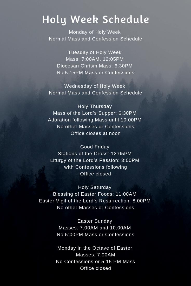 FINAL Holy Week Schedule