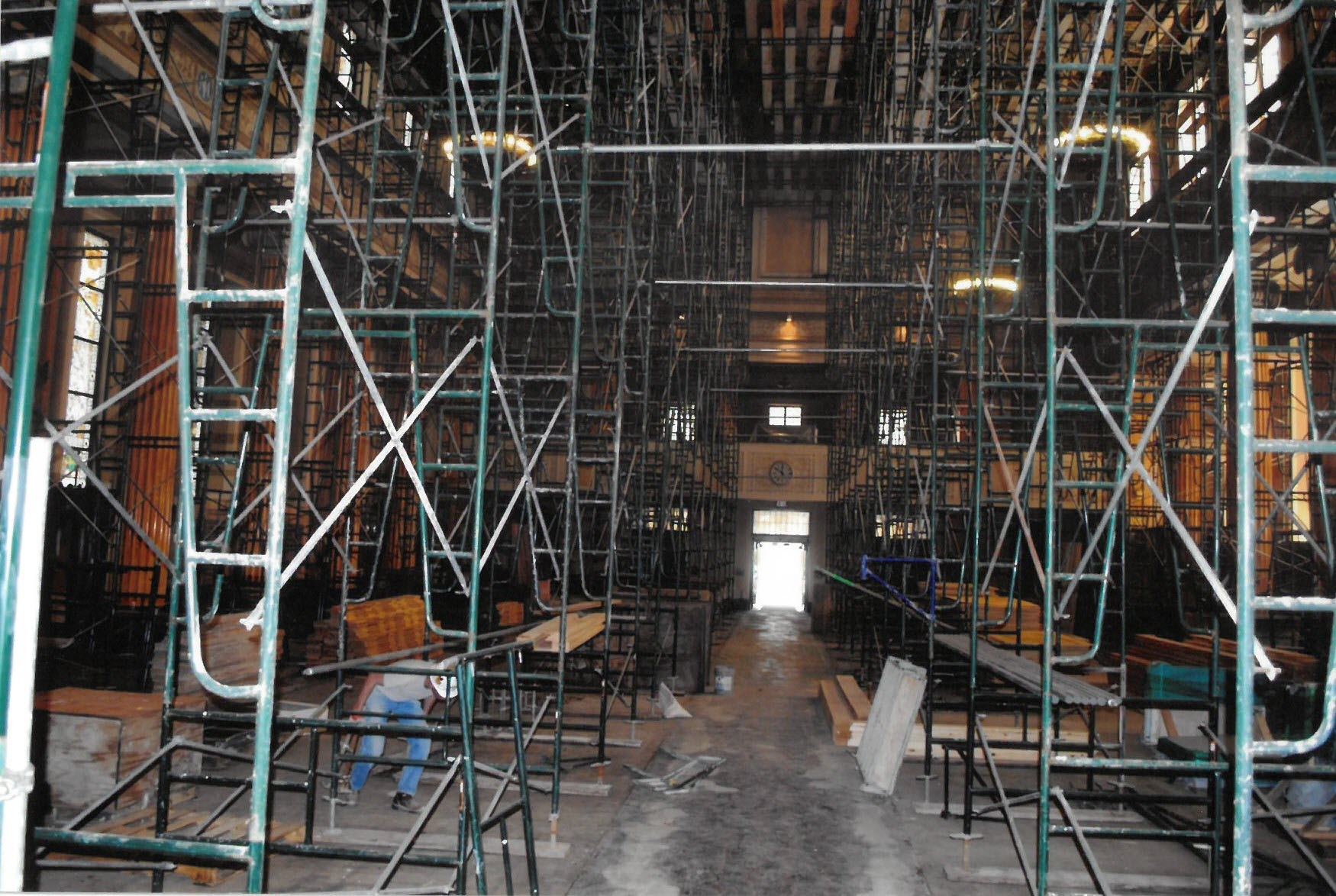 Scaffolding Inside the Cathedral During the Renovation in 2008-2009. Photo Courtesy of the Diocese of Springfield in Illinois Office for Archives and Records Management