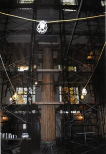 History - Photographs - Interior scaffold around Column (Cathedral renovation)